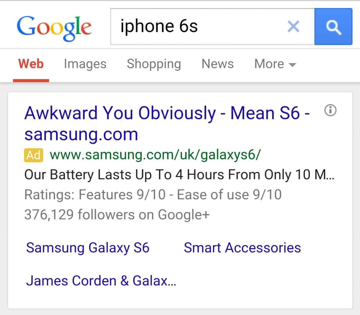 samsung iPhone 6S S6 Google Ad Smart Marketing AdWords