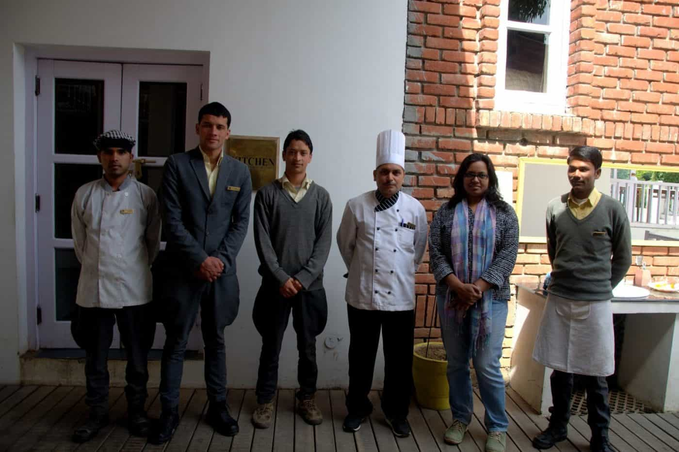 With the culinary team of TeAroha where she helped put together an organic menu amidst the Himalayas