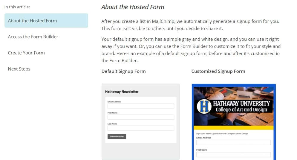 Mailchimp Sign Up Forms